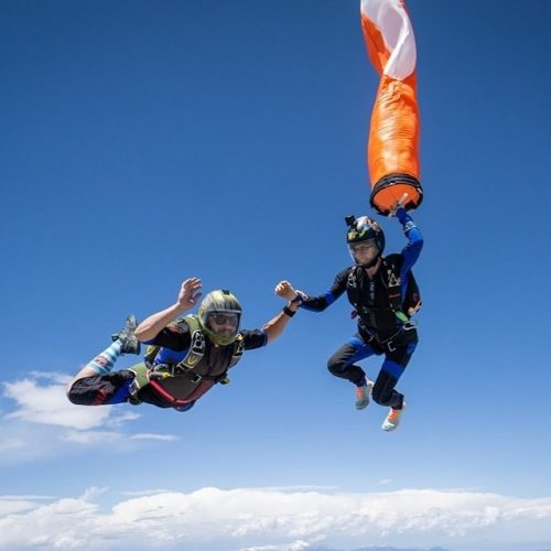 Skydiving with a Tube over Colorado Mountain Skydive